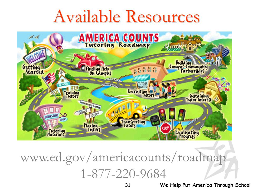 We Help Put America Through School 31 Available Resources www.ed.gov/americacounts/roadmap 1-877-220-9684