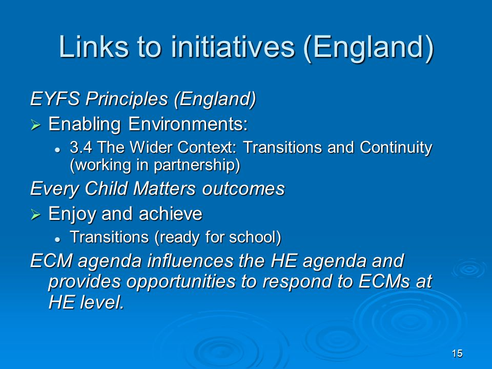 15 Links to initiatives (England) EYFS Principles (England)  Enabling Environments: 3.4 The Wider Context: Transitions and Continuity (working in par