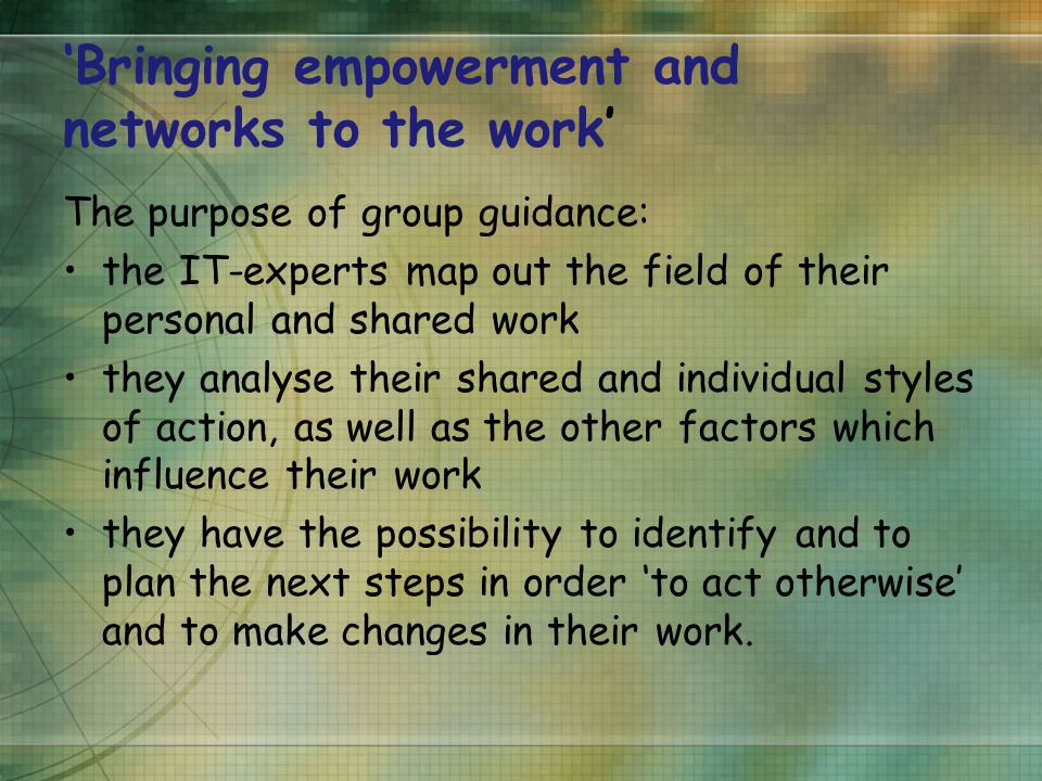 'Bringing empowerment and networks to the work' The purpose of group guidance: the IT-experts map out the field of their personal and shared work they