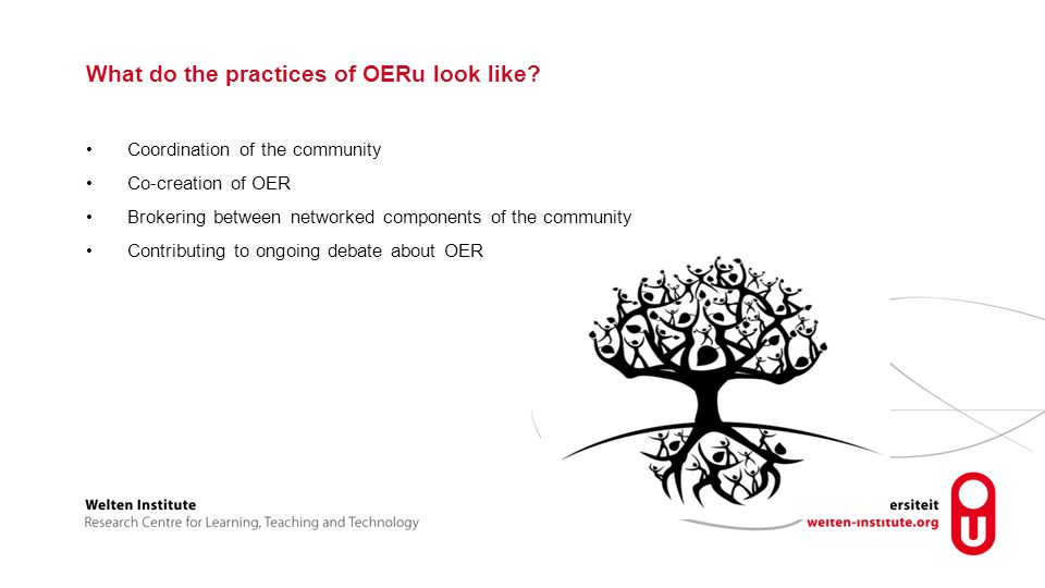 What do the practices of OERu look like.