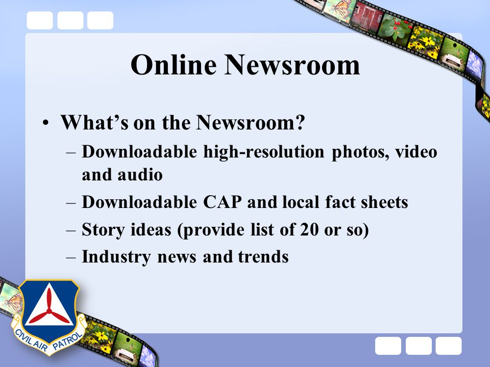 Online Newsroom What's on the Newsroom? –Downloadable high-resolution photos, video and audio –Downloadable CAP and local fact sheets –Story ideas (pr