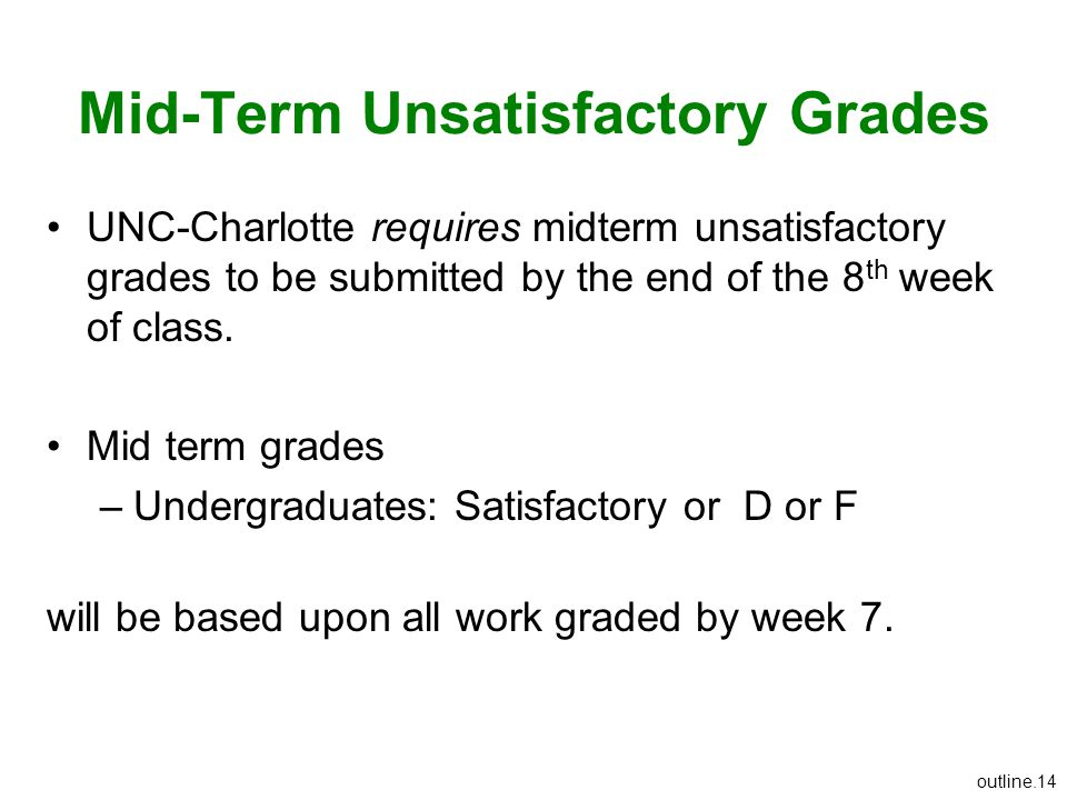 Mid-Term Unsatisfactory Grades UNC-Charlotte requires midterm unsatisfactory grades to be submitted by the end of the 8 th week of class. Mid term gra