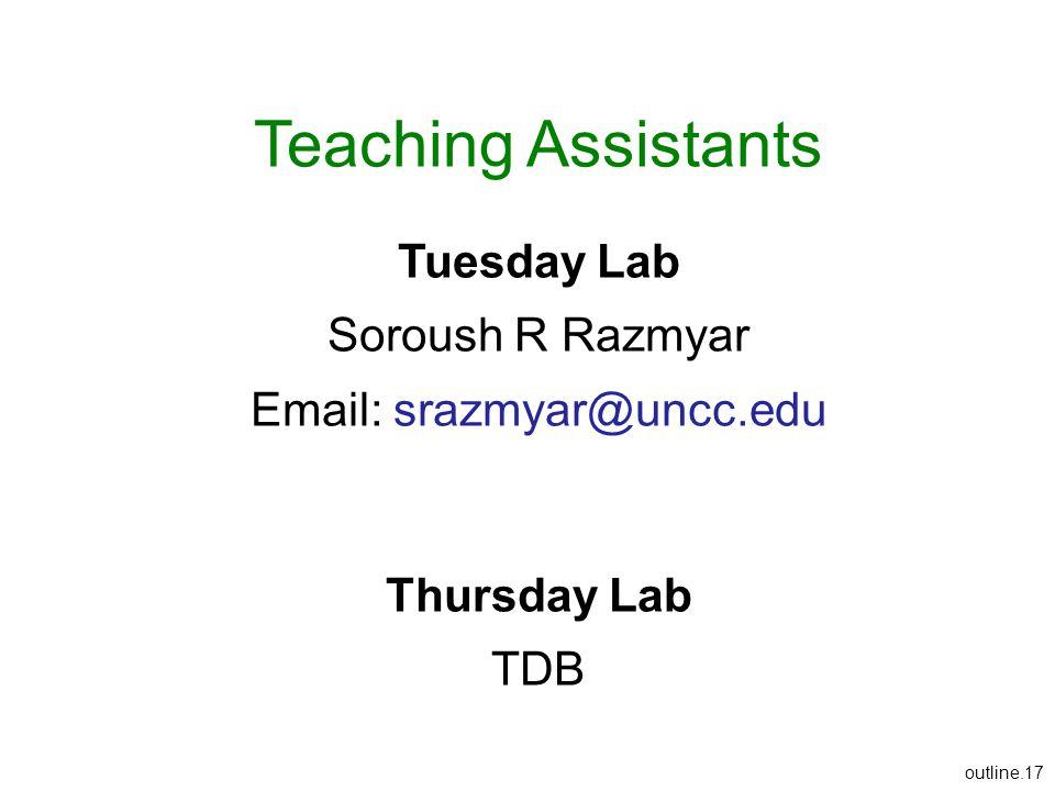 outline.17 Teaching Assistants Tuesday Lab Soroush R Razmyar Email: srazmyar@uncc.edu Thursday Lab TDB