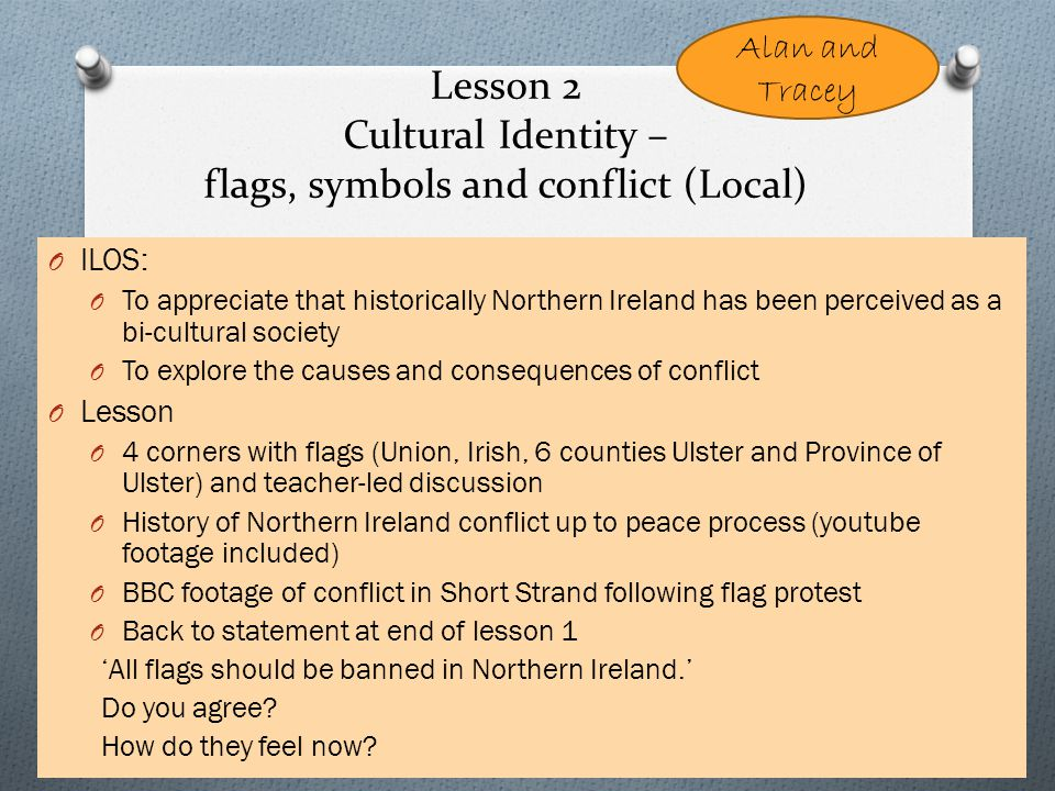 Lesson 2 Cultural Identity – flags, symbols and conflict (Local) O ILOS: O To appreciate that historically Northern Ireland has been perceived as a bi