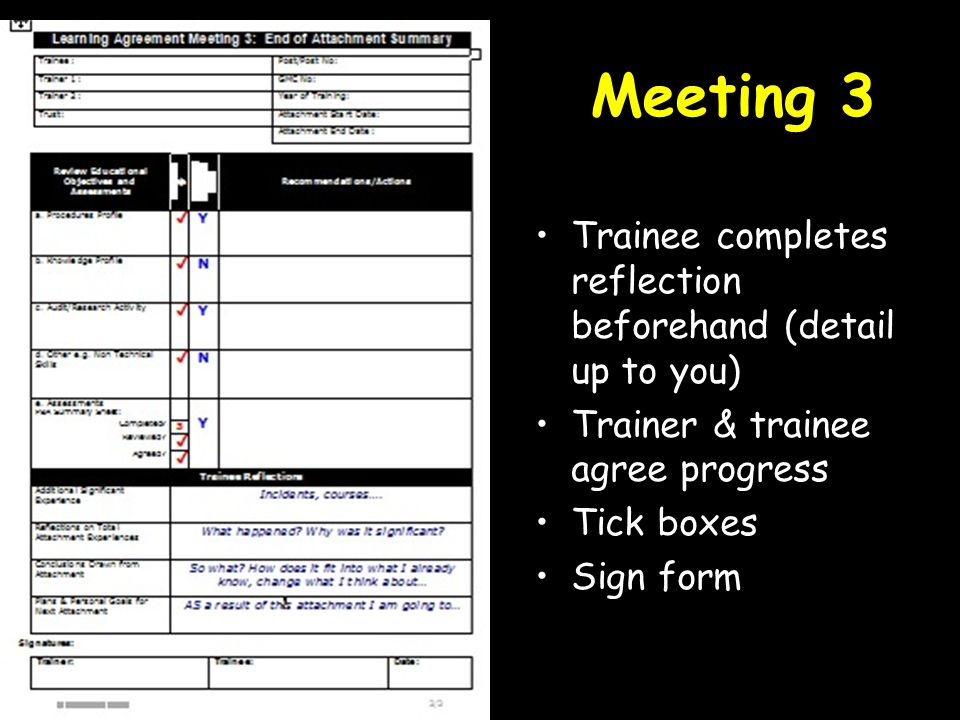 Meeting 3 Trainee completes reflection beforehand (detail up to you) Trainer & trainee agree progress Tick boxes Sign form