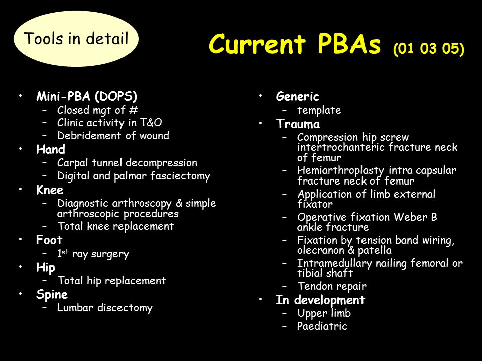 Current PBAs (01 03 05) Mini-PBA (DOPS) –Closed mgt of # –Clinic activity in T&O –Debridement of wound Hand –Carpal tunnel decompression –Digital and