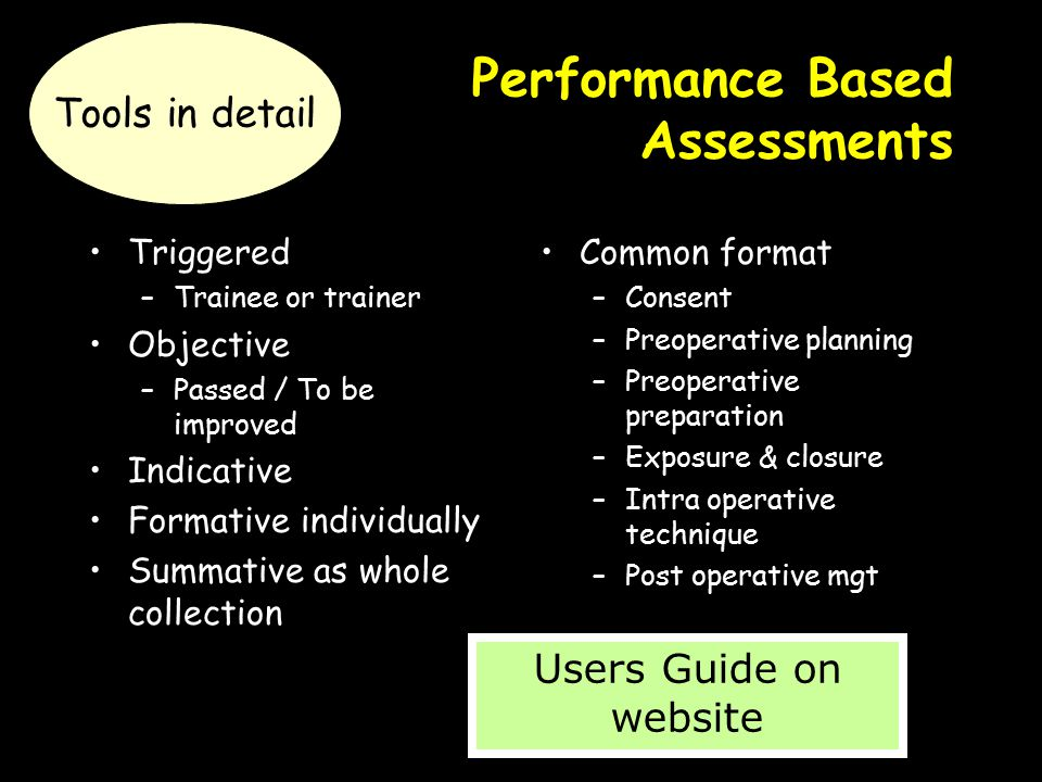 Performance Based Assessments Triggered –Trainee or trainer Objective –Passed / To be improved Indicative Formative individually Summative as whole co