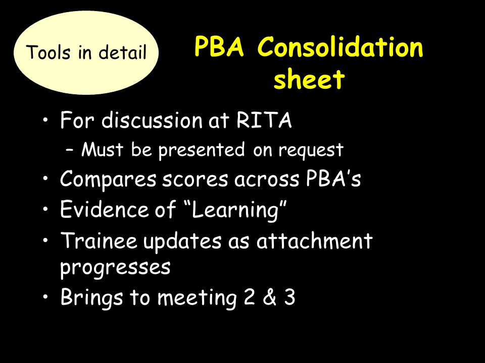 "PBA Consolidation sheet For discussion at RITA –Must be presented on request Compares scores across PBA's Evidence of ""Learning"" Trainee updates as at"