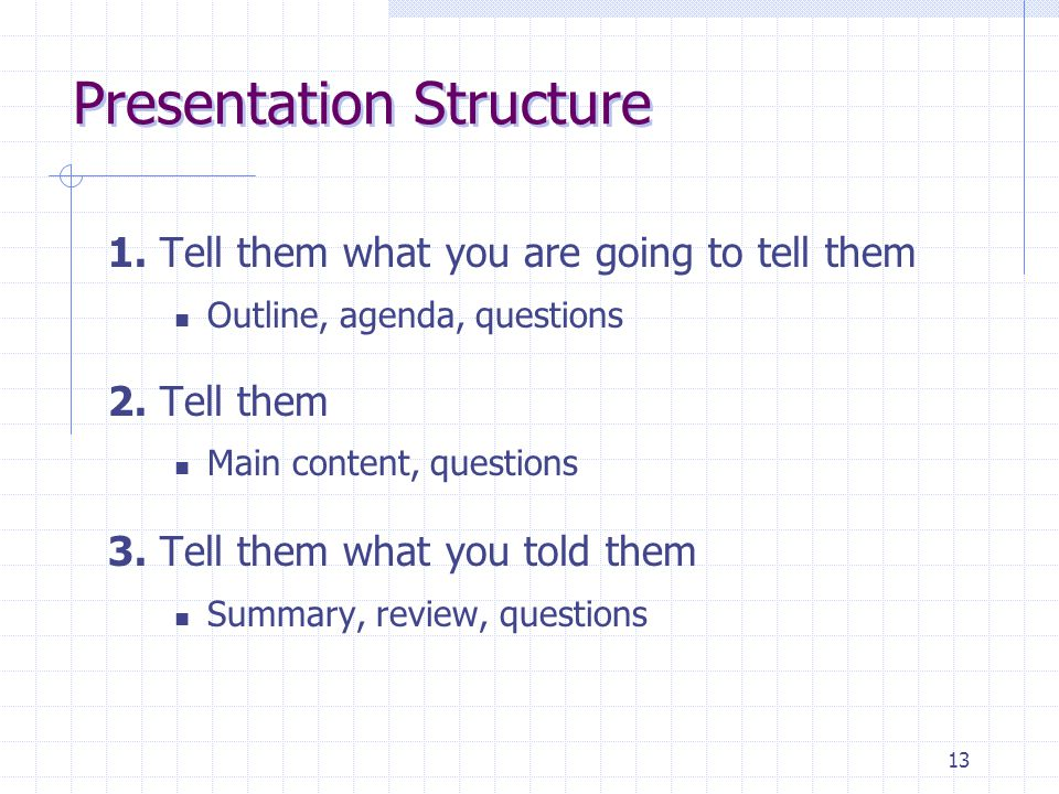 13 Presentation Structure 1. Tell them what you are going to tell them Outline, agenda, questions 2. Tell them Main content, questions 3. Tell them wh
