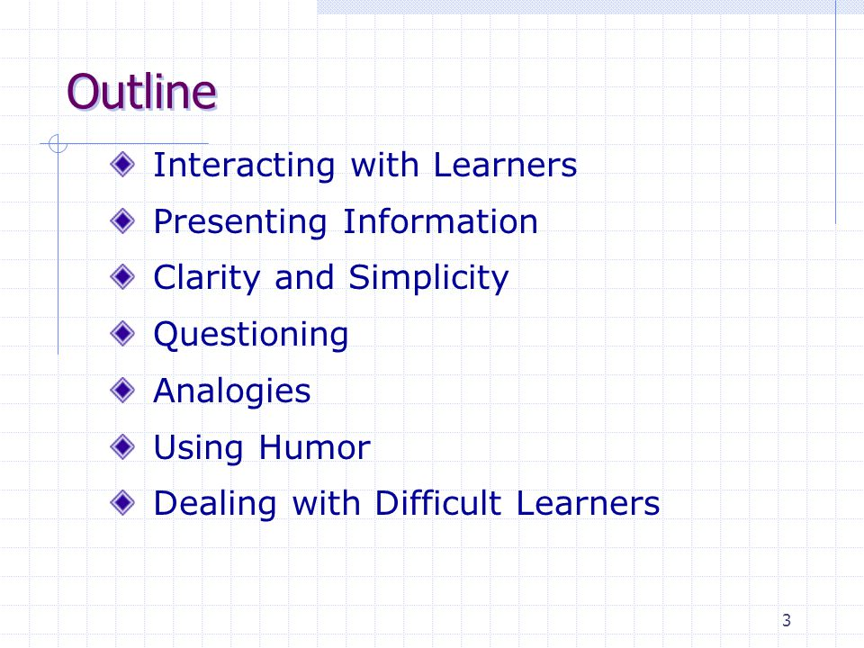 3 Outline Interacting with Learners Presenting Information Clarity and Simplicity Questioning Analogies Using Humor Dealing with Difficult Learners