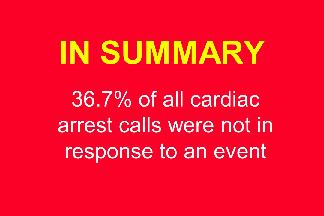 IN SUMMARY 36.7% of all cardiac arrest calls were not in response to an event