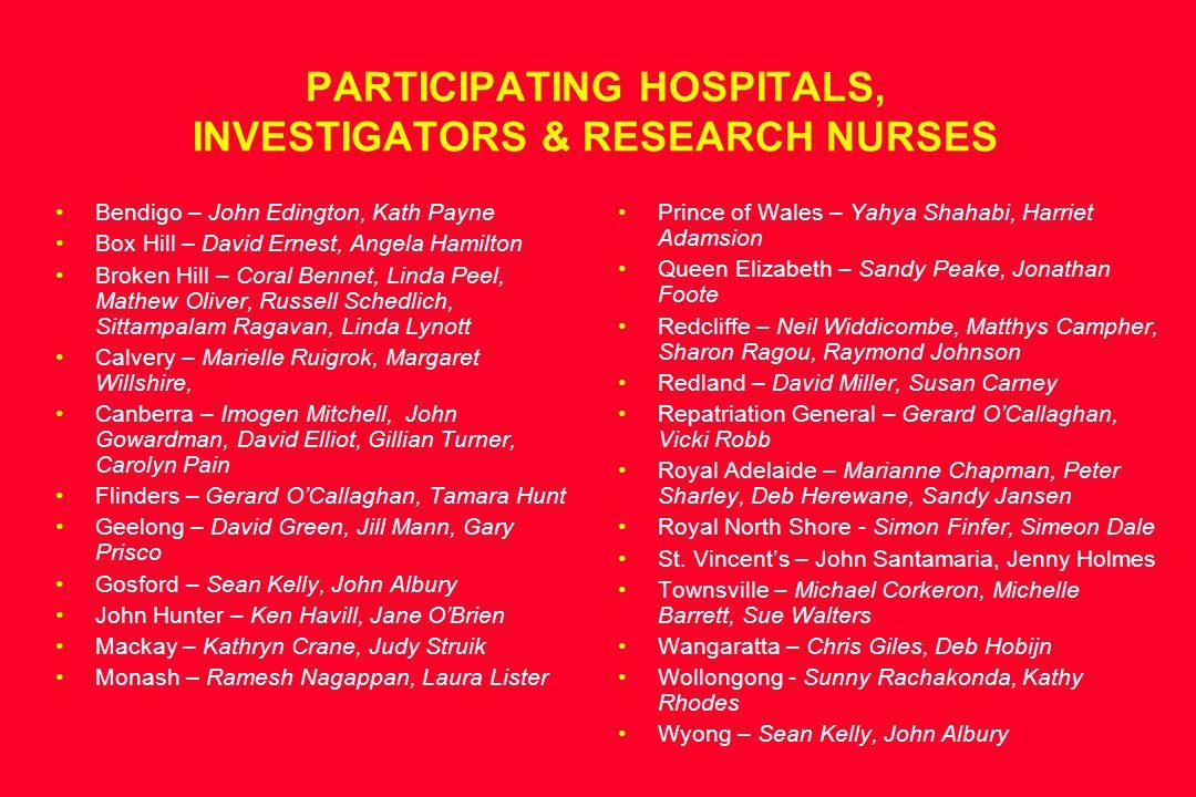 PARTICIPATING HOSPITALS, INVESTIGATORS & RESEARCH NURSES Bendigo – John Edington, Kath Payne Box Hill – David Ernest, Angela Hamilton Broken Hill – Co