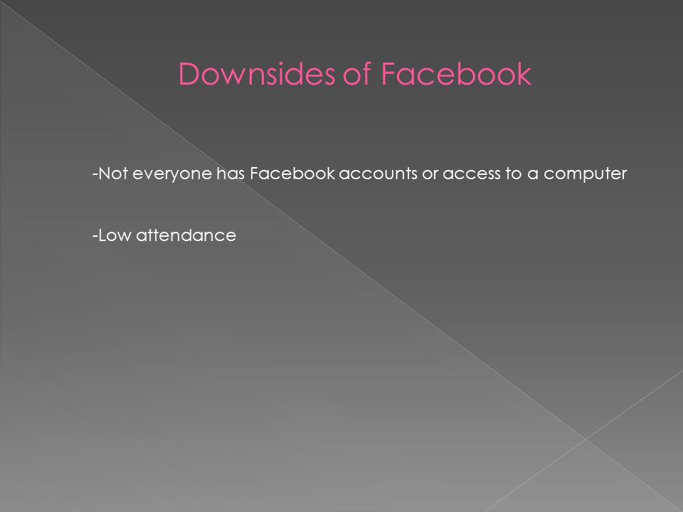 Downsides of Facebook -Not everyone has Facebook accounts or access to a computer -Low attendance