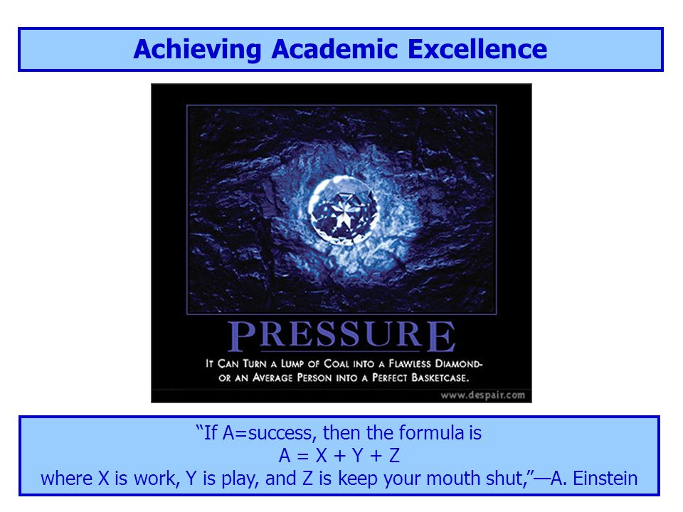 Achieving Academic Excellence If A=success, then the formula is A = X + Y + Z where X is work, Y is play, and Z is keep your mouth shut, —A.