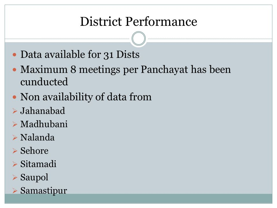 District Performance Data available for 31 Dists Maximum 8 meetings per Panchayat has been cunducted Non availability of data from  Jahanabad  Madhu