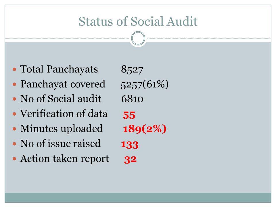 Status of Social Audit Total Panchayats 8527 Panchayat covered 5257(61%) No of Social audit 6810 Verification of data 55 Minutes uploaded 189(2%) No o