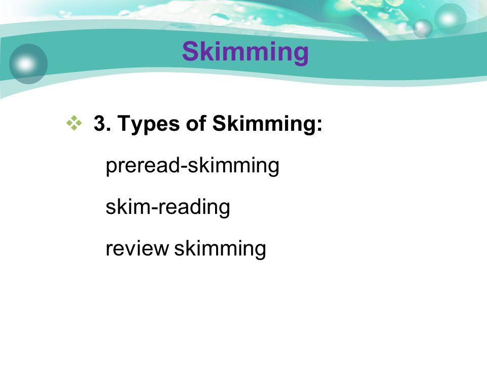  3. Types of Skimming: preread-skimming skim-reading review skimming Skimming