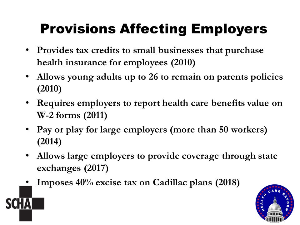 Provisions Affecting Employers Provides tax credits to small businesses that purchase health insurance for employees (2010) Allows young adults up to