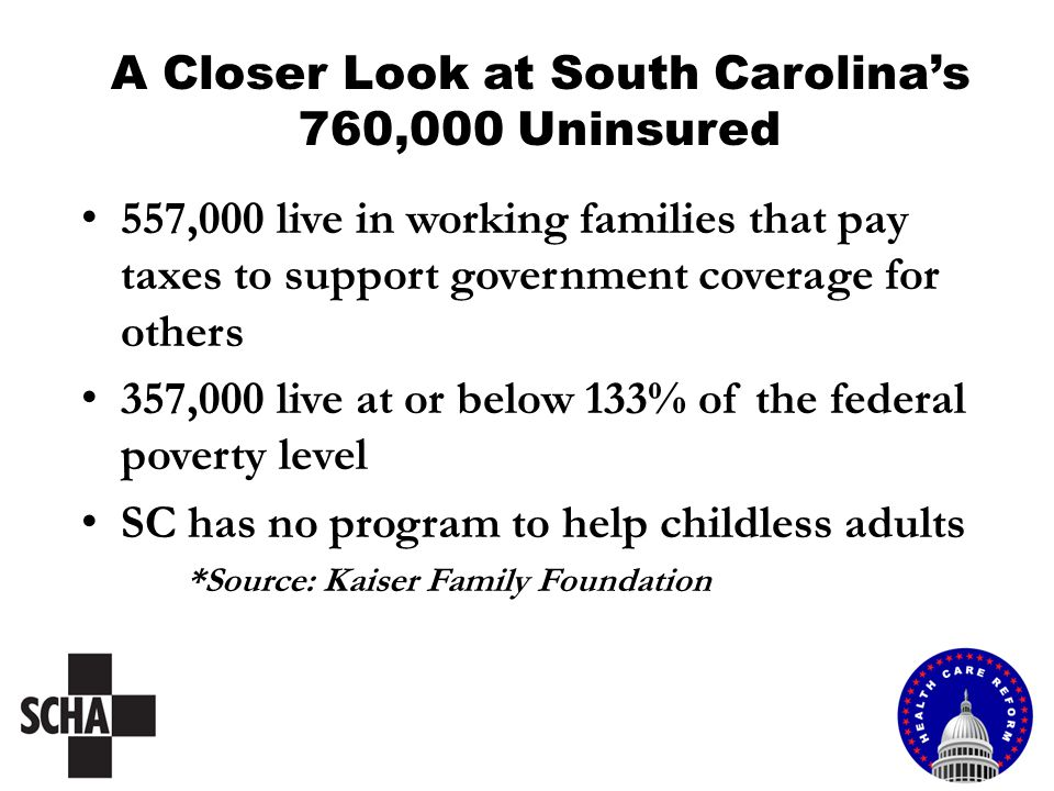 A Closer Look at South Carolina's 760,000 Uninsured 557,000 live in working families that pay taxes to support government coverage for others 357,000 live at or below 133% of the federal poverty level SC has no program to help childless adults *Source: Kaiser Family Foundation