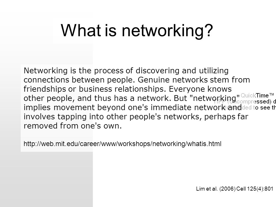 Networking is the process of discovering and utilizing connections between people. Genuine networks stem from friendships or business relationships. E