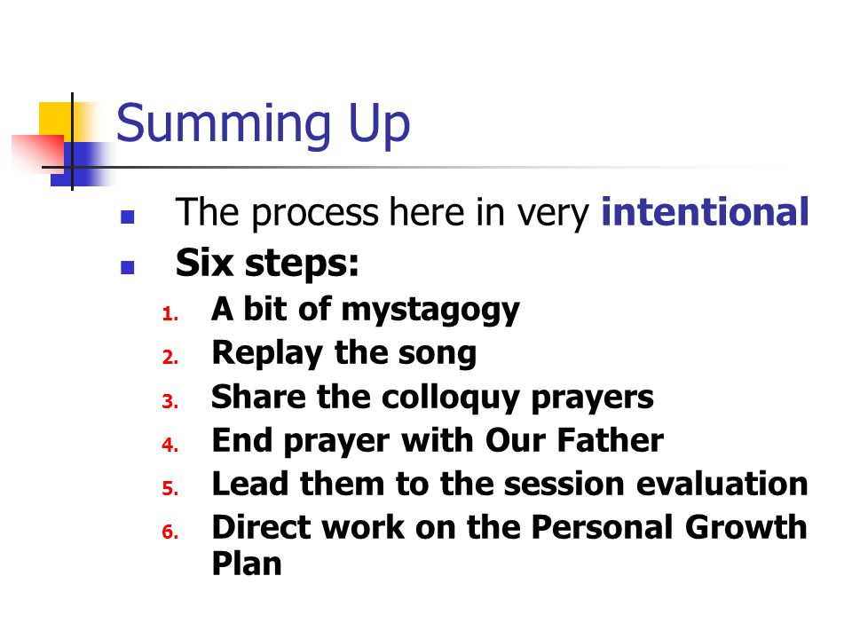 Summing Up The process here in very intentional Six steps: 1.