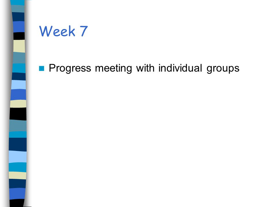 Week 7 Progress meeting with individual groups