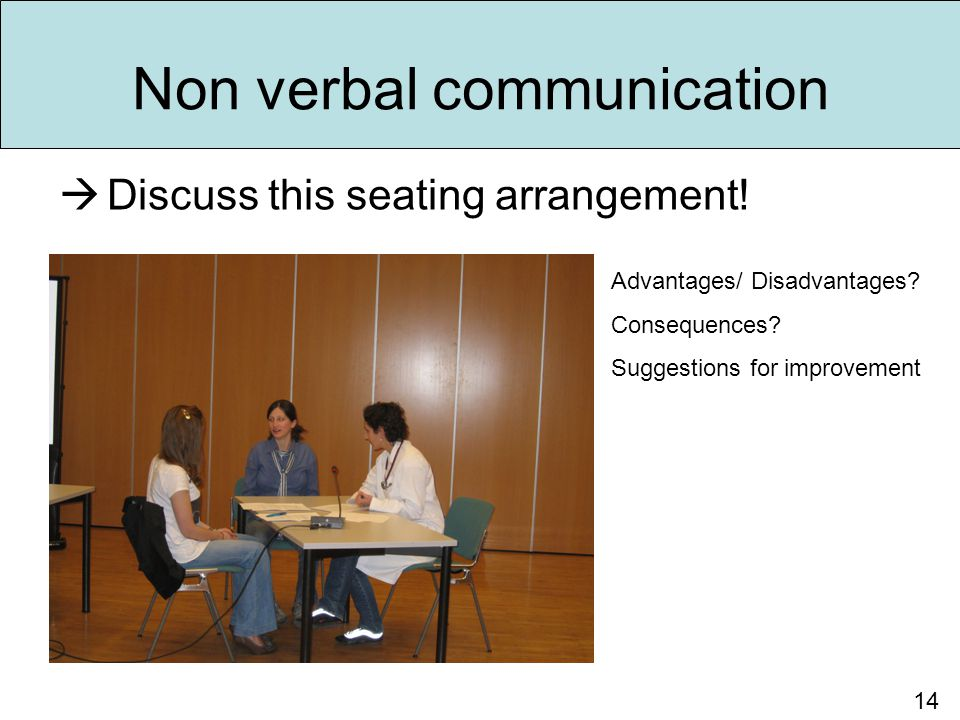 Non verbal communication  Discuss this seating arrangement! 14 Advantages/ Disadvantages? Consequences? Suggestions for improvement