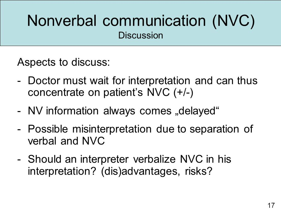 Nonverbal communication (NVC) Discussion Aspects to discuss: -Doctor must wait for interpretation and can thus concentrate on patient's NVC (+/-) -NV