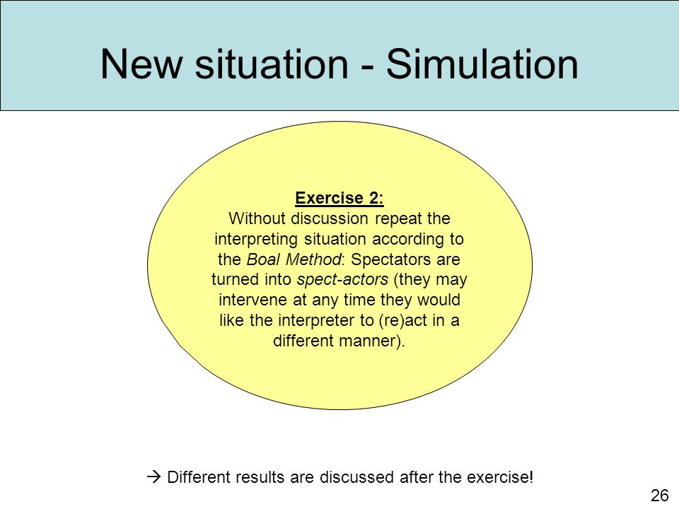 New situation - Simulation 26 Exercise 2: Without discussion repeat the interpreting situation according to the Boal Method: Spectators are turned int