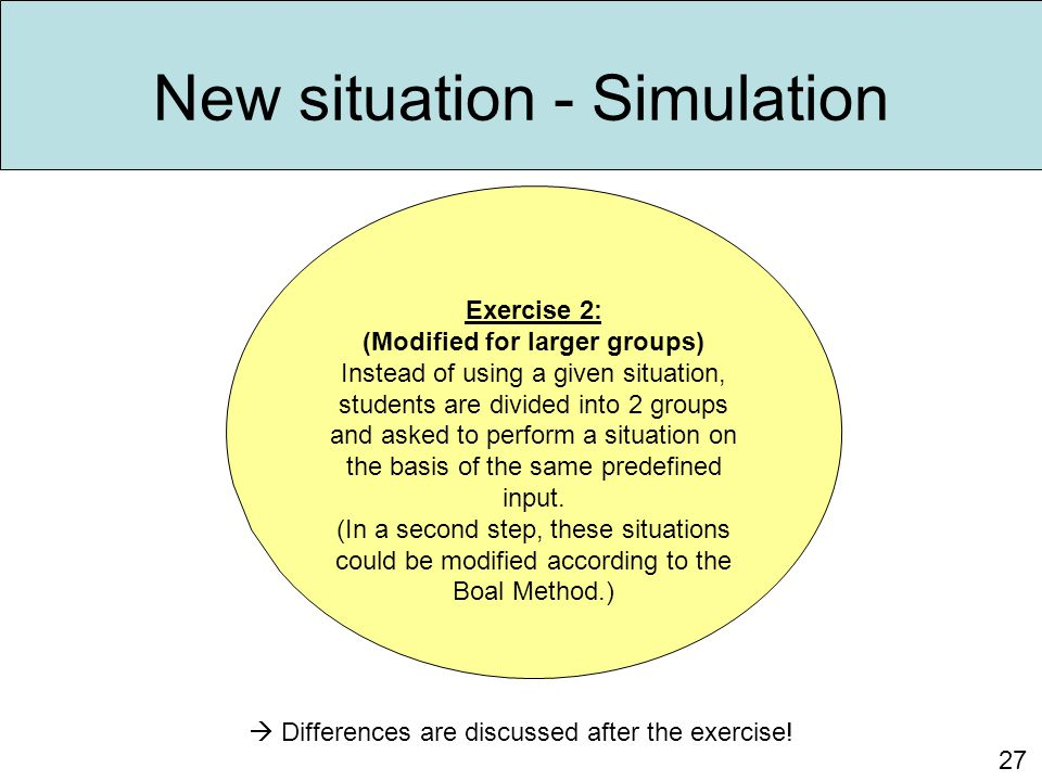 New situation - Simulation 27 Exercise 2: (Modified for larger groups) Instead of using a given situation, students are divided into 2 groups and aske