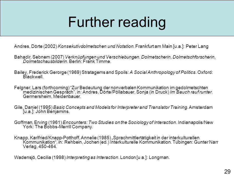 Further reading Andres, Dörte (2002) Konsekutivdolmetschen und Notation.
