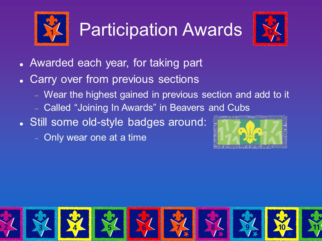 Participation Awards Awarded each year, for taking part Carry over from previous sections  Wear the highest gained in previous section and add to it  Called Joining In Awards in Beavers and Cubs Still some old-style badges around:  Only wear one at a time