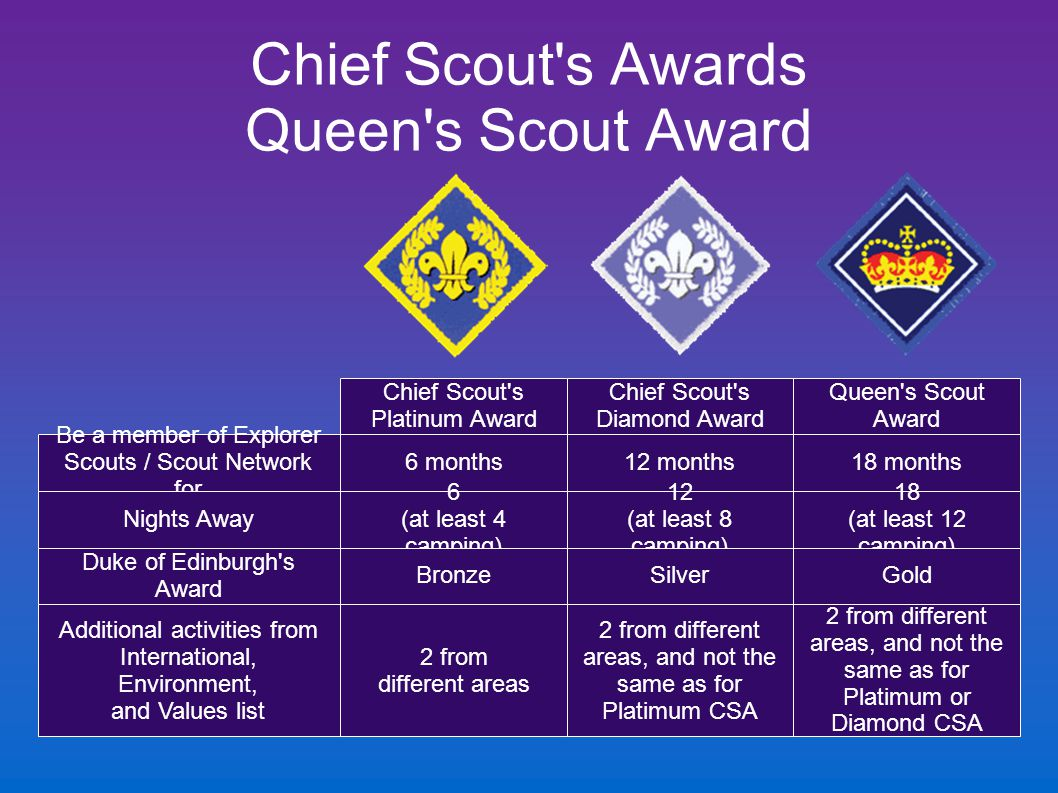Chief Scout's Awards Queen's Scout Award Chief Scout's Platinum Award Chief Scout's Diamond Award Queen's Scout Award 6 months12 months18 months 6 (at