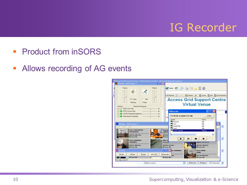 Supercomputing, Visualization & e-Science10 IG Recorder  Product from inSORS  Allows recording of AG events
