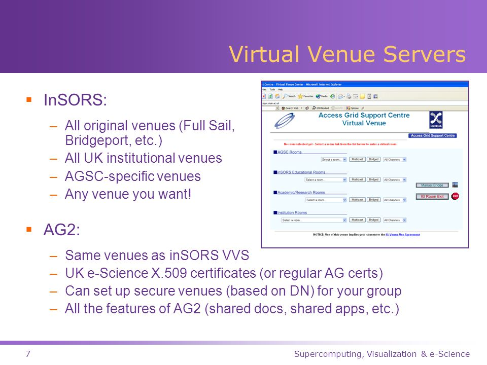 Supercomputing, Visualization & e-Science7 Virtual Venue Servers  InSORS: –All original venues (Full Sail, Bridgeport, etc.) –All UK institutional venues –AGSC-specific venues –Any venue you want.