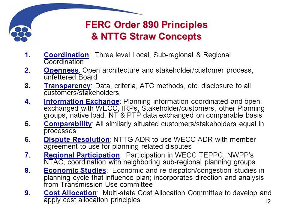 12 FERC Order 890 Principles & NTTG Straw Concepts 1.Coordination: Three level Local, Sub-regional & Regional Coordination 2.Openness: Open architectu