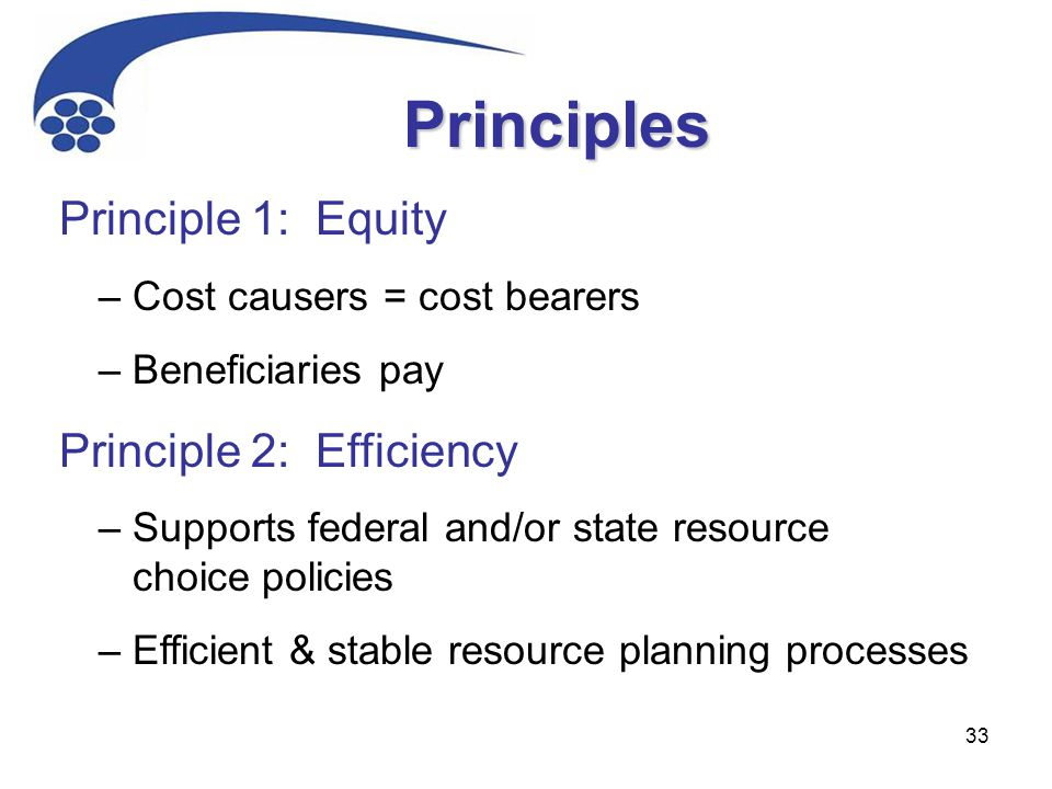 33 Principle 1: Equity – Cost causers = cost bearers – Beneficiaries pay Principle 2: Efficiency – Supports federal and/or state resource choice policies – Efficient & stable resource planning processes Principles