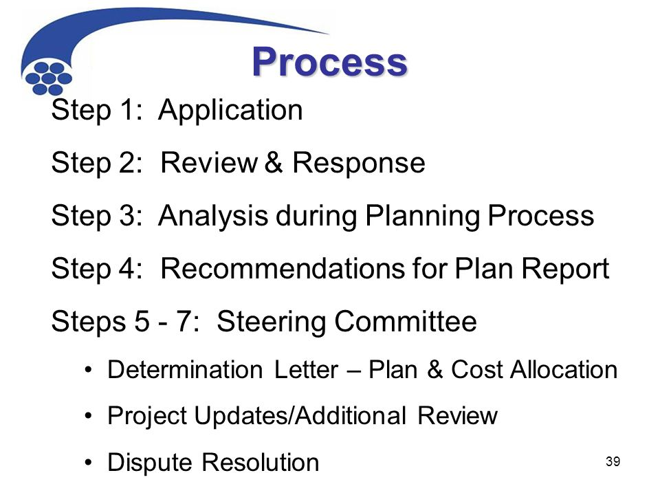 39 Step 1: Application Step 2: Review & Response Step 3: Analysis during Planning Process Step 4: Recommendations for Plan Report Steps 5 - 7: Steering Committee Determination Letter – Plan & Cost Allocation Project Updates/Additional Review Dispute Resolution Process