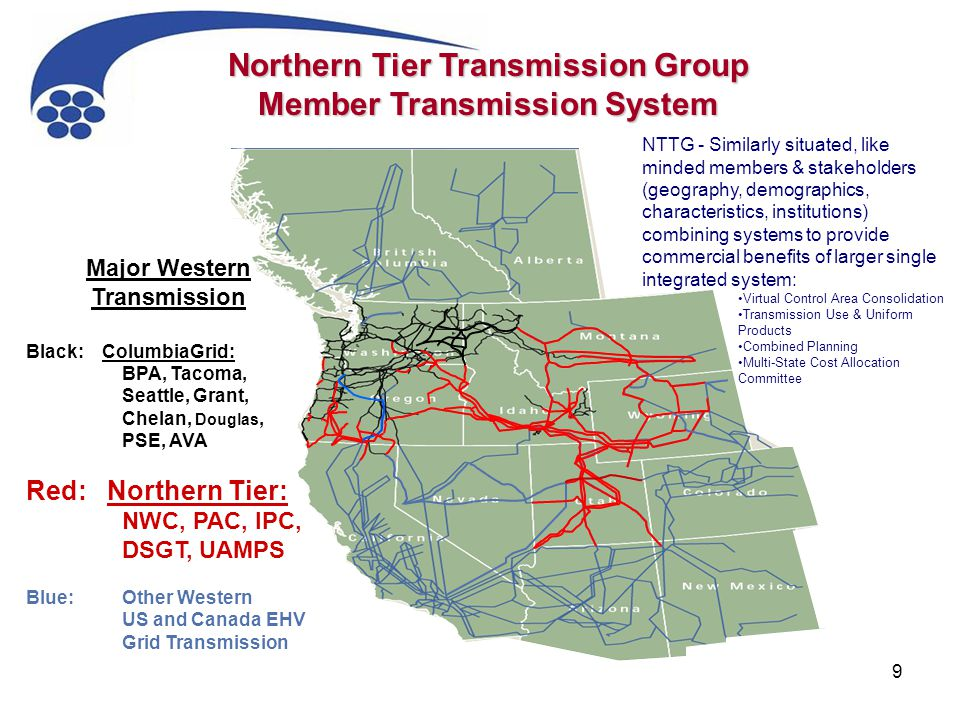 9 Major Western Transmission Black: ColumbiaGrid: BPA, Tacoma, Seattle, Grant, Chelan, Douglas, PSE, AVA Red: Northern Tier: NWC, PAC, IPC, DSGT, UAMPS Blue:Other Western US and Canada EHV Grid Transmission Northern Tier Transmission Group Member Transmission System NTTG - Similarly situated, like minded members & stakeholders (geography, demographics, characteristics, institutions) combining systems to provide commercial benefits of larger single integrated system: Virtual Control Area Consolidation Transmission Use & Uniform Products Combined Planning Multi-State Cost Allocation Committee