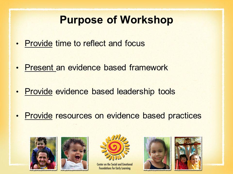 Learner Objectives Participants will: Describe an evidence based framework for addressing social emotional development and challenging behavior.