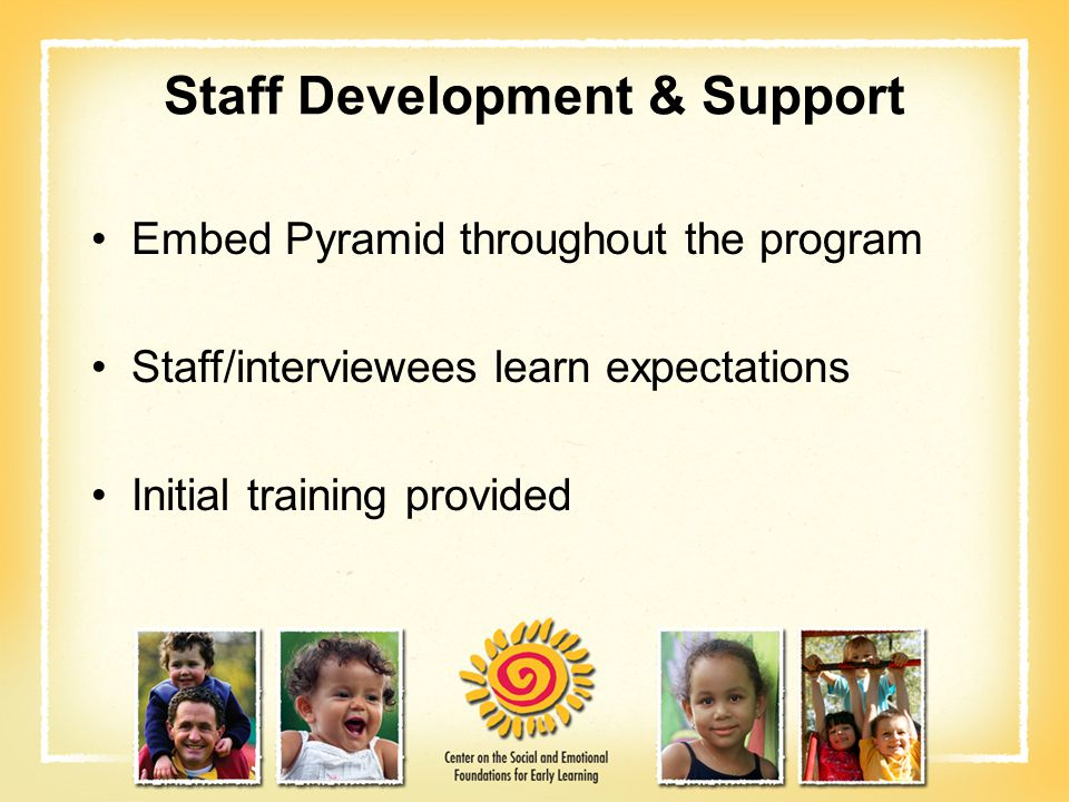 Staff Development & Support Embed Pyramid throughout the program Staff/interviewees learn expectations Initial training provided