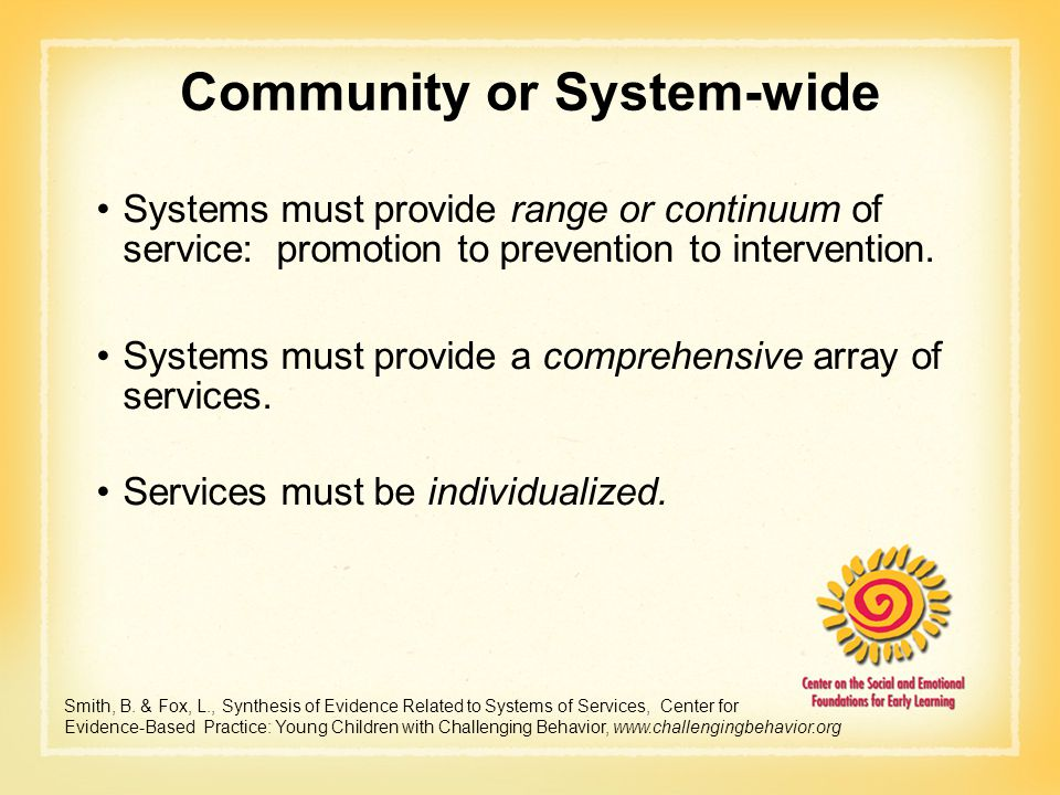 Community or System-wide Systems must provide range or continuum of service: promotion to prevention to intervention. Systems must provide a comprehen