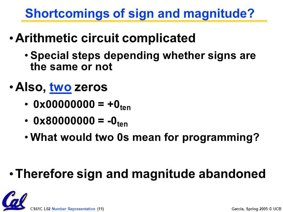 CS61C L02 Number Representation (10) Garcia, Spring 2005 © UCB How to Represent Negative Numbers.