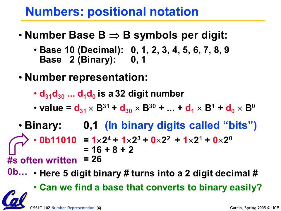 CS61C L02 Number Representation (4) Garcia, Spring 2005 © UCB Numbers: positional notation Number Base B  B symbols per digit: Base 10 (Decimal):0, 1, 2, 3, 4, 5, 6, 7, 8, 9 Base 2 (Binary):0, 1 Number representation: d 31 d 30...