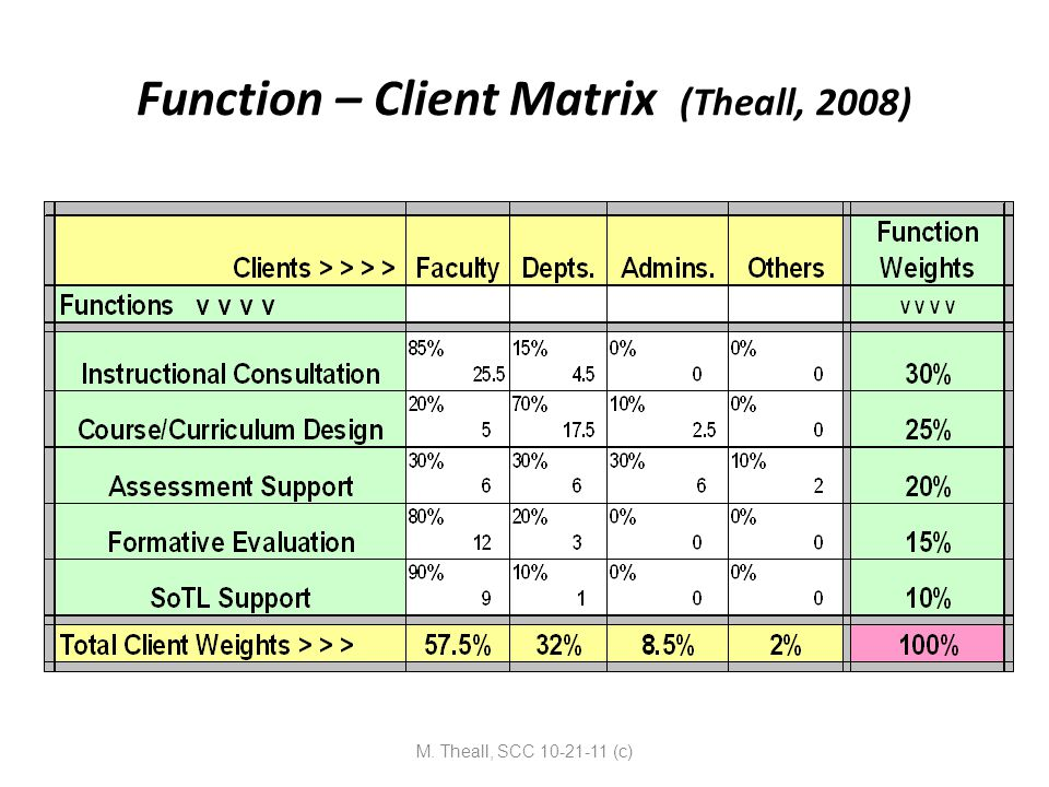 Function – Client Matrix (Theall, 2008) M. Theall, SCC 10-21-11 (c)
