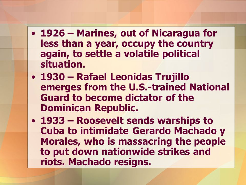 1926 – Marines, out of Nicaragua for less than a year, occupy the country again, to settle a volatile political situation.