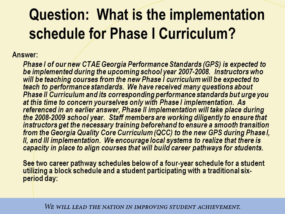 Question: What is the implementation schedule for Phase I Curriculum.