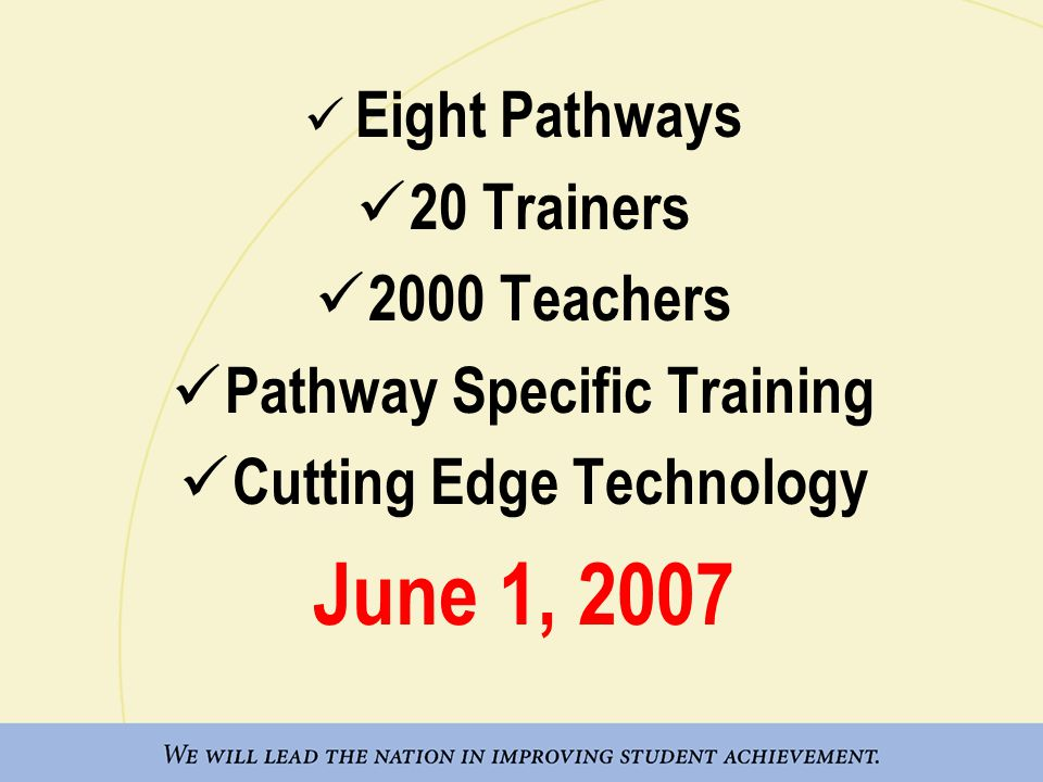 Eight Pathways 20 Trainers 2000 Teachers Pathway Specific Training Cutting Edge Technology June 1, 2007