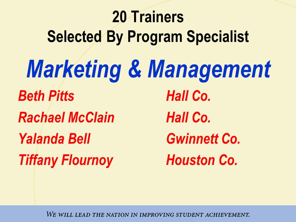 20 Trainers Selected By Program Specialist Marketing & Management Beth PittsHall Co.