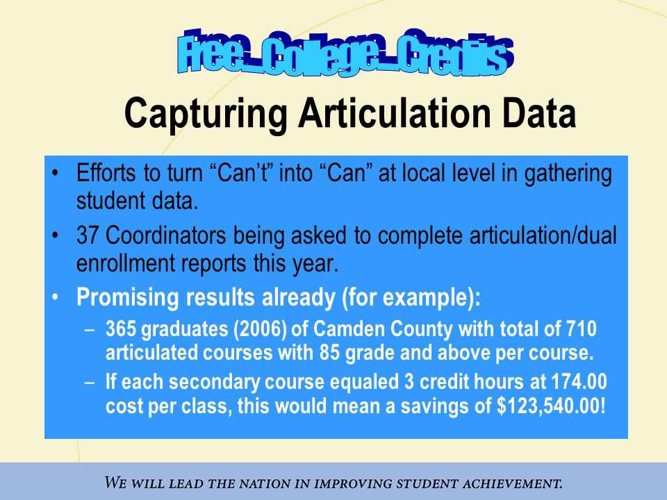 Capturing Articulation Data Efforts to turn Can't into Can at local level in gathering student data.